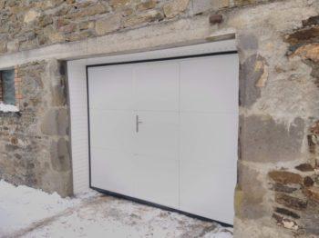 Porte de garage acier sectionnelle avec portillon