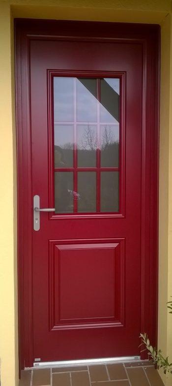 Porte d'entrée bois/aluminium RAL3004