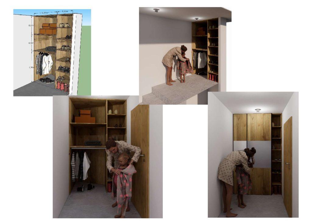 Dressing avec portes coulissantes bois et miroir
